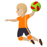 Person Playing Handball: Medium-Light Skin Tone on JoyPixels 5.5