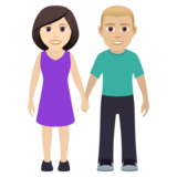 Woman and Man Holding Hands: Light Skin Tone, Medium-Light Skin Tone on JoyPixels 5.5