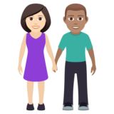 Woman and Man Holding Hands: Light Skin Tone, Medium Skin Tone on JoyPixels 5.5