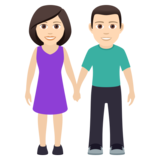 Woman and Man Holding Hands: Light Skin Tone on JoyPixels 5.5