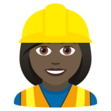 Woman Construction Worker: Dark Skin Tone on JoyPixels 5.5