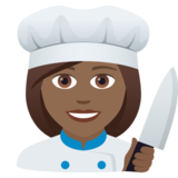 Woman Cook: Medium-Dark Skin Tone on JoyPixels 5.5