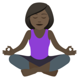 Woman in Lotus Position: Dark Skin Tone on JoyPixels 5.5
