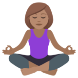Woman in Lotus Position: Medium Skin Tone on JoyPixels 5.5