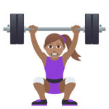 Woman Lifting Weights: Medium Skin Tone on JoyPixels 5.5