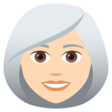 Woman: Light Skin Tone, White Hair on JoyPixels 5.5