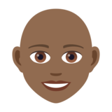 Woman: Medium-Dark Skin Tone, Bald on JoyPixels 5.5