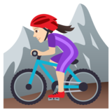 Woman Mountain Biking: Light Skin Tone on JoyPixels 5.5