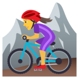 Woman Mountain Biking on JoyPixels 5.5