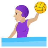 Woman Playing Water Polo: Medium-Light Skin Tone on JoyPixels 5.5
