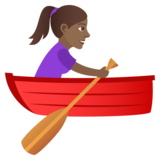 Woman Rowing Boat: Medium-Dark Skin Tone on JoyPixels 5.5
