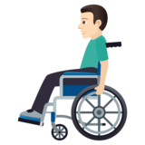 Man in Manual Wheelchair: Light Skin Tone on JoyPixels 6.0