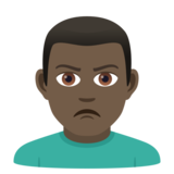 Man Pouting: Dark Skin Tone on JoyPixels 6.0