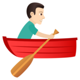 Man Rowing Boat: Light Skin Tone on JoyPixels 6.0