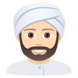 Man Wearing Turban: Light Skin Tone on JoyPixels 6.0