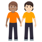 People Holding Hands: Medium Skin Tone, Light Skin Tone on JoyPixels 6.0