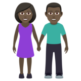 Woman and Man Holding Hands: Dark Skin Tone on JoyPixels 6.0