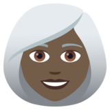 Woman: Dark Skin Tone, White Hair on JoyPixels 6.0