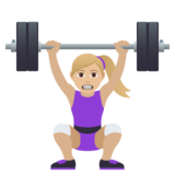 Woman Lifting Weights: Medium-Light Skin Tone on JoyPixels 6.0
