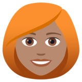 Woman: Medium Skin Tone, Red Hair on JoyPixels 6.0