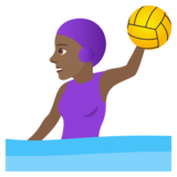 Woman Playing Water Polo: Medium-Dark Skin Tone on JoyPixels 6.0