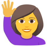 Woman Raising Hand on JoyPixels 6.0
