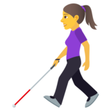 Woman with White Cane on JoyPixels 6.0