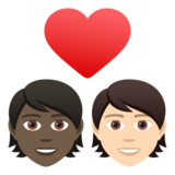 Couple with Heart: Person, Person, Dark Skin Tone, Light Skin Tone on JoyPixels 6.5