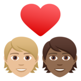 Couple with Heart: Person, Person, Medium-Light Skin Tone, Medium-Dark Skin Tone on JoyPixels 6.5