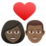 Couple with Heart: Woman, Man, Dark Skin Tone, Medium-Dark Skin Tone on JoyPixels 6.5