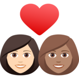 Couple with Heart: Woman, Woman, Light Skin Tone, Medium Skin Tone on JoyPixels 6.5