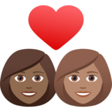 Couple with Heart: Woman, Woman, Medium-Dark Skin Tone, Medium Skin Tone on JoyPixels 6.5