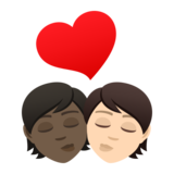 Kiss: Person, Person, Dark Skin Tone, Light Skin Tone on JoyPixels 6.5