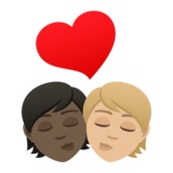Kiss: Person, Person, Dark Skin Tone, Medium-Light Skin Tone on JoyPixels 6.5