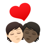 Kiss: Person, Person, Light Skin Tone, Dark Skin Tone on JoyPixels 6.5