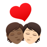 Kiss: Person, Person, Medium-Dark Skin Tone, Light Skin Tone on JoyPixels 6.5