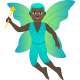 Man Fairy: Dark Skin Tone on JoyPixels 6.5