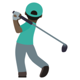 Man Golfing: Dark Skin Tone on JoyPixels 6.5
