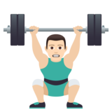 Man Lifting Weights: Light Skin Tone on JoyPixels 6.5
