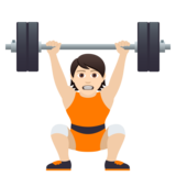 Person Lifting Weights: Light Skin Tone on JoyPixels 6.5