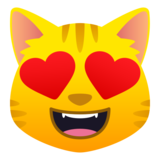 Smiling Cat with Heart-Eyes on JoyPixels 6.5