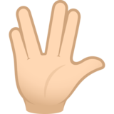 Vulcan Salute: Light Skin Tone on JoyPixels 6.5