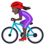 Woman Biking: Dark Skin Tone on JoyPixels 6.5