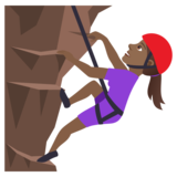 Woman Climbing: Medium-Dark Skin Tone on JoyPixels 6.5