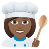 Woman Cook: Medium-Dark Skin Tone on JoyPixels 6.5