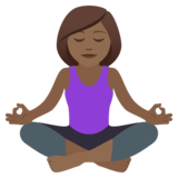 Woman in Lotus Position: Medium-Dark Skin Tone on JoyPixels 6.5