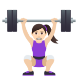 Woman Lifting Weights: Light Skin Tone on JoyPixels 6.5