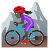 Woman Mountain Biking: Dark Skin Tone on JoyPixels 6.5