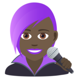 Woman Singer: Dark Skin Tone on JoyPixels 6.5
