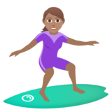 Woman Surfing: Medium Skin Tone on JoyPixels 6.5